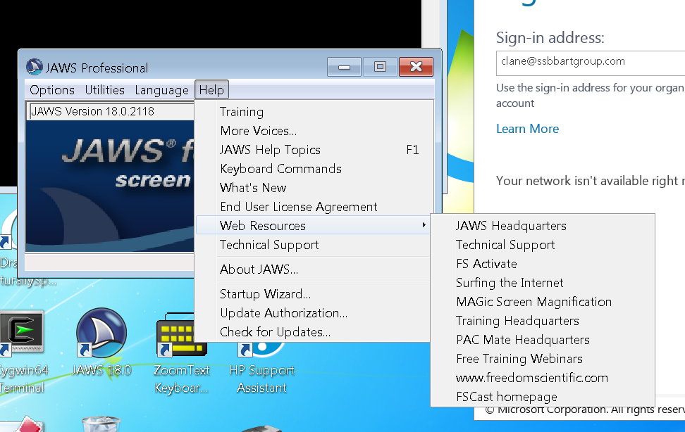 screenshot of the JAWS Web Resources menu which is an example of navigation from a desktop application menu